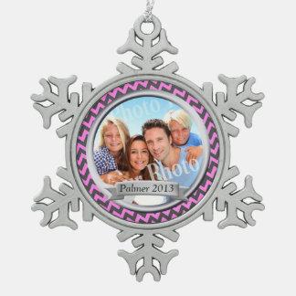 Zig Zag Pattern Family Photo Keepsake Snowflake Pewter Christmas Ornament