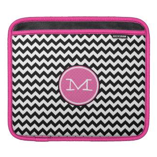 Zig Zag Pink Black and White iPad Sleeve
