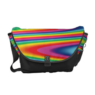 Zig Zag Psychedelic Rainbow Pattern Messenger Bags