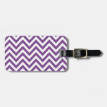 Zig Zag Purple and white striped Template Pattern Luggage Tag
