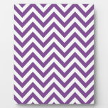 Zig Zag Purple and white striped Template Pattern Display Plaques
