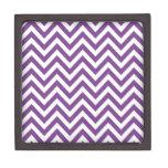 Zig Zag Purple and white striped Template Pattern Premium Trinket Box