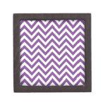 Zig Zag Purple and white striped Template Pattern Premium Gift Box