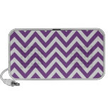 Zig Zag Purple and white striped Template Pattern Mp3 Speakers