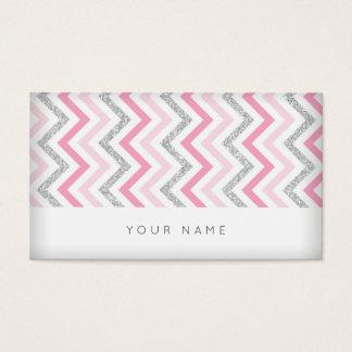 Zig Zag Silver Pink White Gray Chevron Vip Business Card
