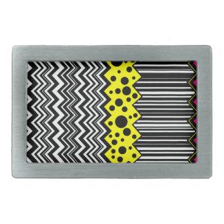 Zig-Zag Stripe Dot Rectangular Belt Buckle