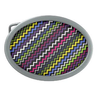 Zig-Zag Stripe Oval Belt Buckle