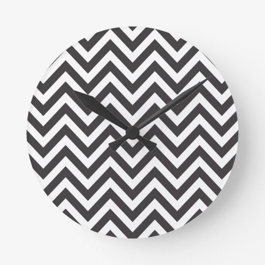 Zig Zag Striped Pattern Zazzle Template Background Round Clock