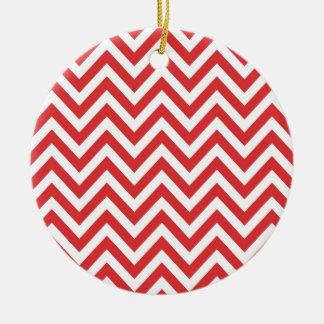 Zig Zag Striped Red White Pattern Qpc Template Ceramic Ornament