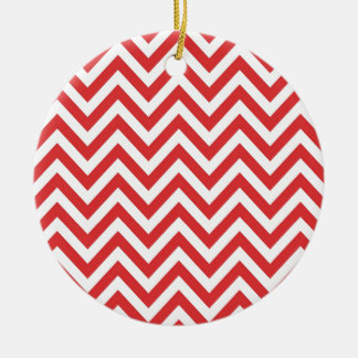 Zig Zag Striped Red White Pattern Qpc Template Double-Sided Ceramic Round Christmas Ornament