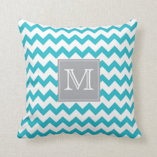 Zig Zag turquoise Pattern with gray monogram box Pillow