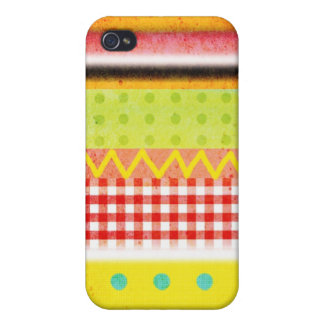 Zig Zag Vichy Pattern Polka Dots Grungy colors Covers For iPhone 4