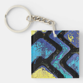 Ziggy Blue and Yellow Tire Treads Keychain
