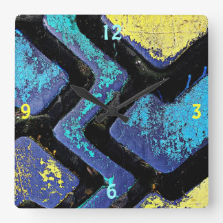Ziggy Blue and Yellow Tire Treads Square Wall Clock