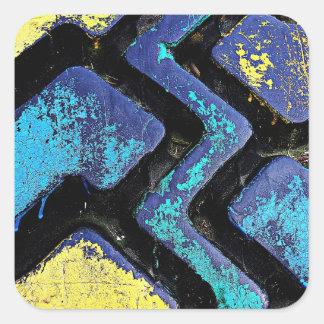 Ziggy Blue and Yellow Tire Treads Square Sticker