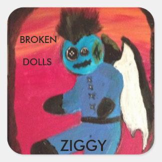 ZIGGY BROKEN DOLLS #1 SQUARE STICKER