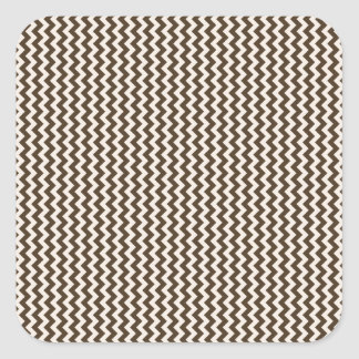 Zigzag - Almond and Cafe Noir Square Sticker