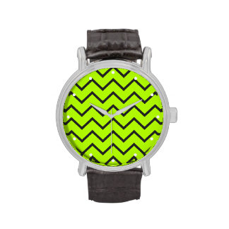 Zigzag amarillo de neón relojes de mano