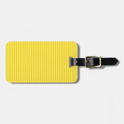 Zigzag - amarillo y amarillo de la mandarina etiquetas de equipaje