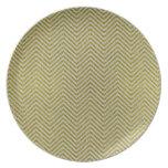 Zigzag amarillo y blanco del brillo plato
