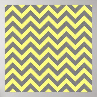 Zigzag amarillo y gris poster