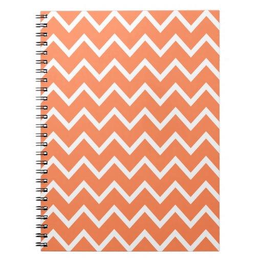 Zigzag anaranjado Chevron de la nectarina Spiral Notebook
