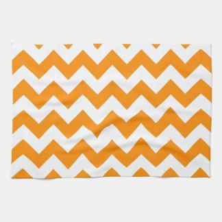 Zigzag anaranjado oscuro toalla de cocina