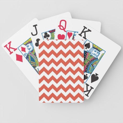 Zigzag anaranjado y blanco baraja de cartas