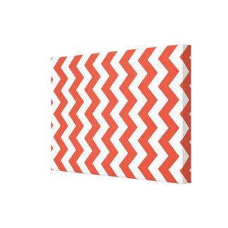 Zigzag anaranjado y blanco impresión en lona