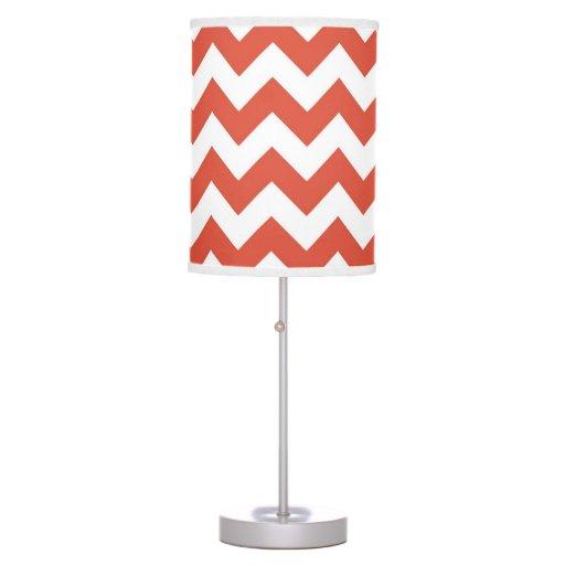 Zigzag anaranjado y blanco lámpara de mesilla de noche