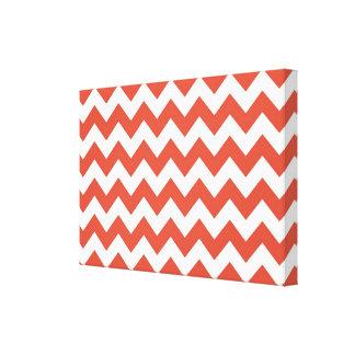 Zigzag anaranjado y blanco lienzo envuelto para galerías