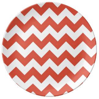 Zigzag anaranjado y blanco platos de cerámica