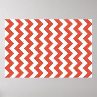 Zigzag anaranjado y blanco póster