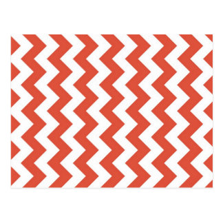 Zigzag anaranjado y blanco tarjetas postales