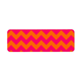 Zigzag anaranjado y rosado etiquetas de remite