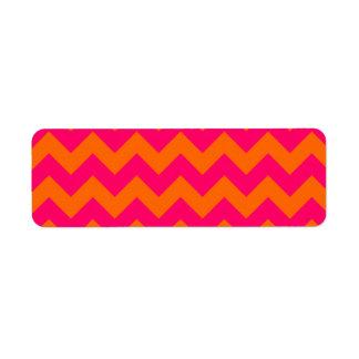 Zigzag anaranjado y rosado etiqueta de remitente