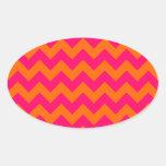 Zigzag anaranjado y rosado pegatinas de óval