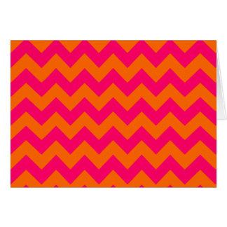 Zigzag anaranjado y rosado tarjetas