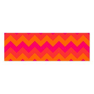 Zigzag anaranjado y rosado tarjetas de visita mini