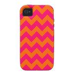 Zigzag anaranjado y rosado vibe iPhone 4 carcasas
