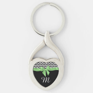 Zigzag and Green Bow with Monogram Keychain
