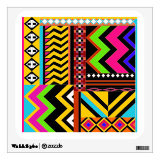 Zigzag and lines and shapes color collage wall sticker