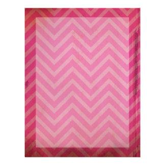 Zigzag apenado Grunge rosado de Chevron Membrete A Diseño