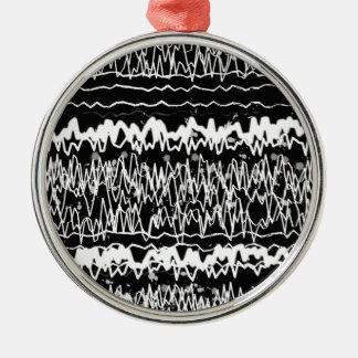 Zigzag Artistic Background Art tiedye black white Metal Ornament