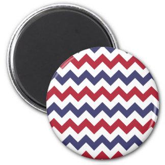 Zigzag azul blanco rojo imanes para frigoríficos