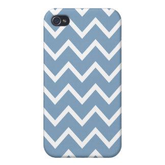 Zigzag azul Chevron de la oscuridad iPhone 4 Carcasa
