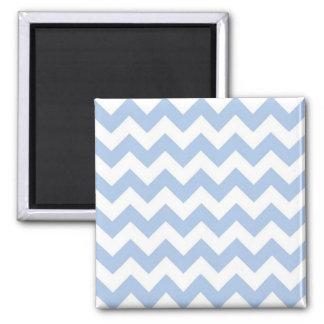 Zigzag azul claro y blanco imán cuadrado