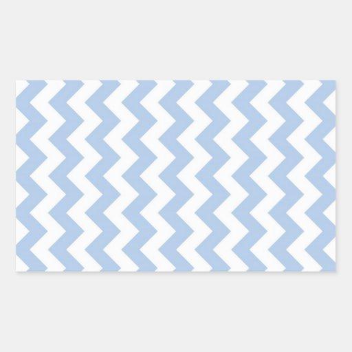Zigzag azul claro y blanco pegatina rectangular