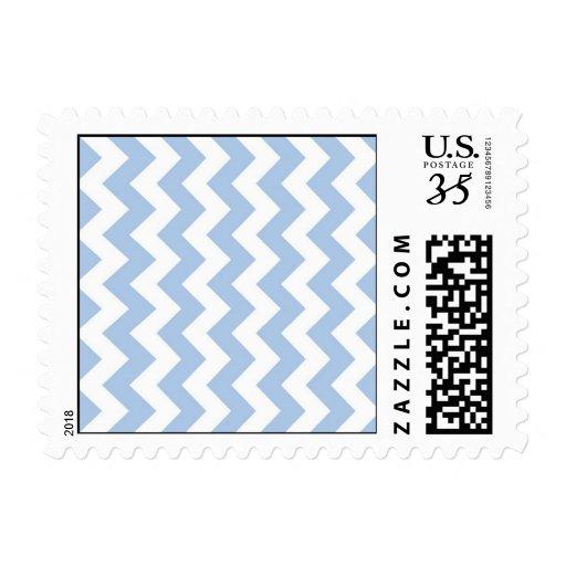 Zigzag azul claro y blanco sello