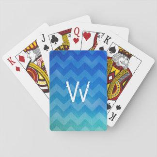 Zigzag azul con monograma de Ombre de la acuarela Baraja De Póquer